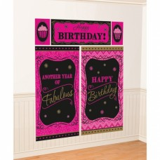 Amscan feestposters Born To Be Fabulous zwart/roze 5-delig
