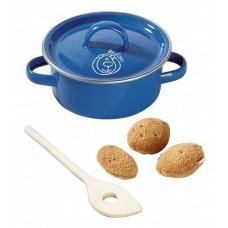 Haba Biofino braadpan met aardappels 4-delig 13 cm blauw