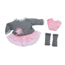 Berjuan kledingset babypop 38 cm grijs/roze