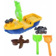 Jonotoys strandset piratenboot blauw 7-delig