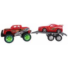 Diakakis Jeep met autoaanhanger rood 50 cm