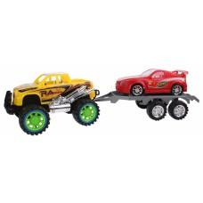 Diakakis Jeep met autoaanhanger geel/rood 50 cm