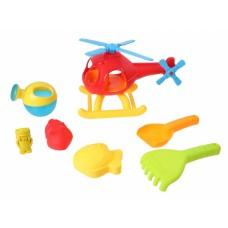Free and Easy strandset met helikopter 7-delig rood