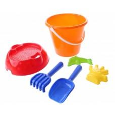 Happy People strandspeelgoed set in emmer 20 cm 6-delig oranje