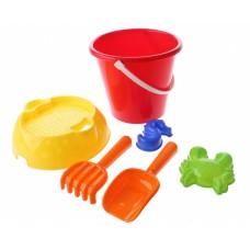 Happy People strandspeelgoed set in emmer 20 cm 6-delig rood