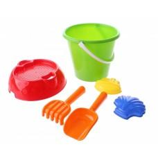 Happy People strandspeelgoed set in emmer 20 cm 6-delig groen