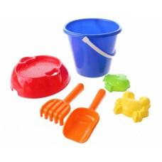 Happy People strandspeelgoed set in emmer 20 cm 6-delig blauw